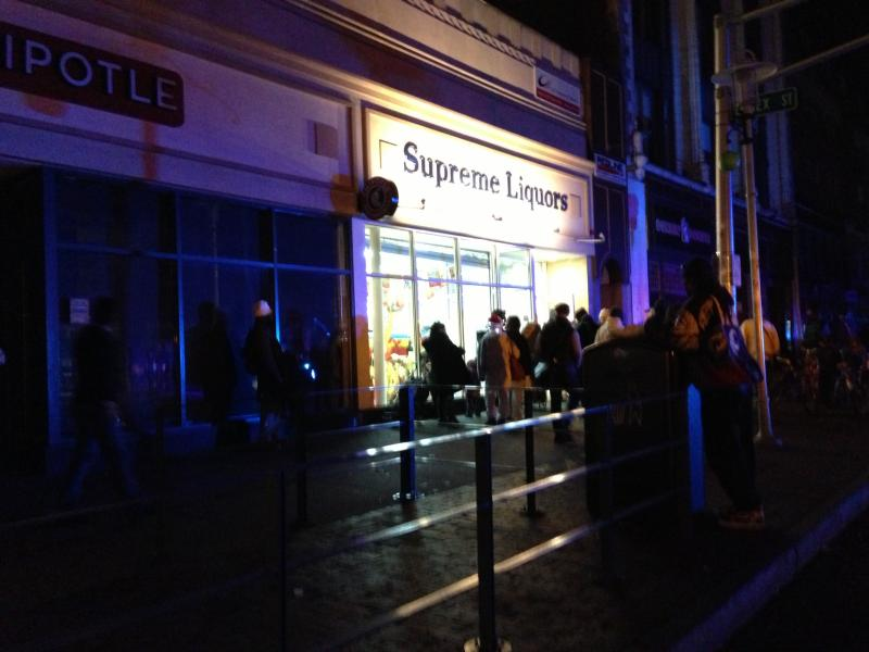 Despite the power outage, Supreme Liquors in Centrl Sq. remained open
