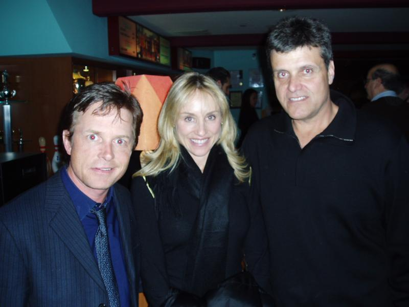 Patrick Lyons, Michael J. Fox and Tracy Pollan at the opening of Kings Back Bay