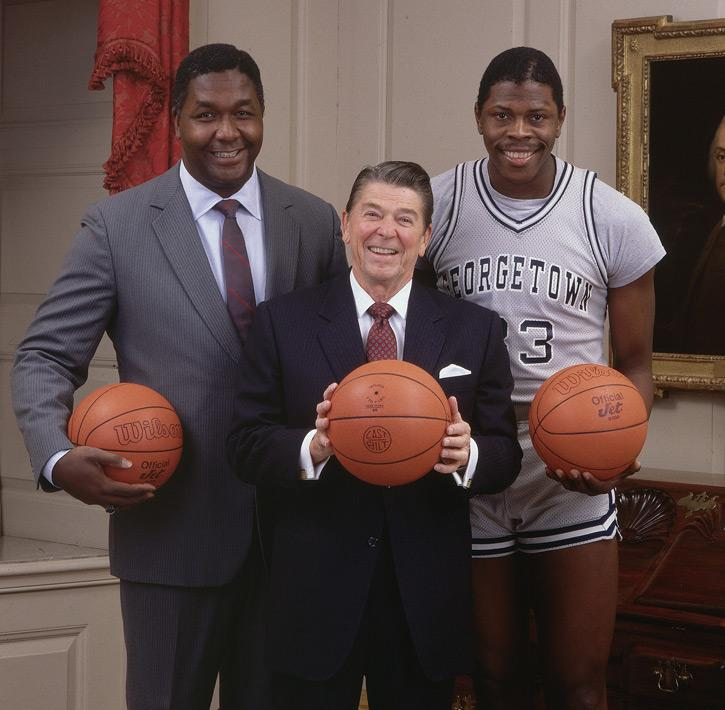 President Reagan with Coach John Thompson and Patrick Ewing