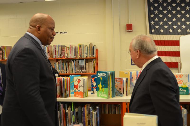 Mayor Thomas Menino talks to UMass Boston Chancellor J. Keith Motley.