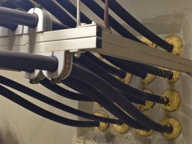 Power cables in the substation run thru ducts into the subway.