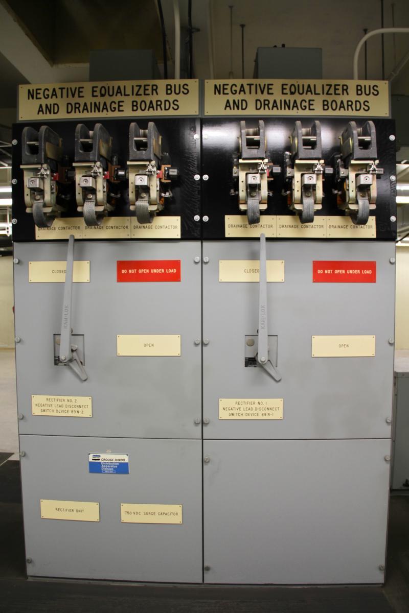 Equipment at the MBTA power substation.