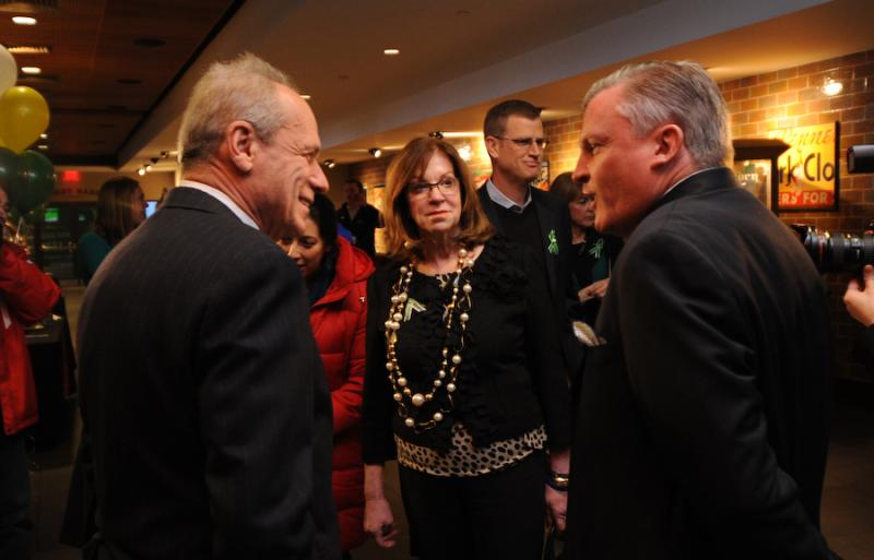 Red Sox President Larry Lucchino talks to Senate President Therese Murray