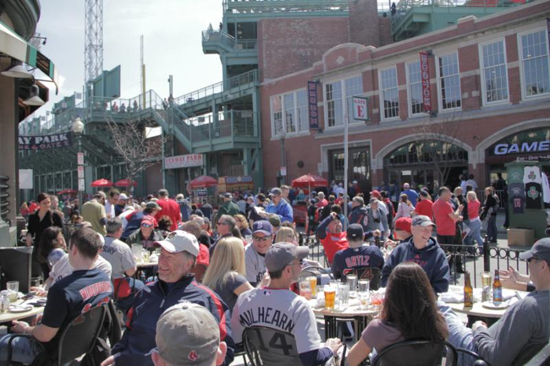 The scene on Lansdowne Street on Opening Day at Fenway Park.