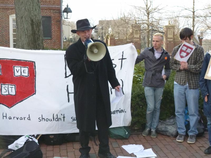 Harvard University students protest the school's investments in oil companies.