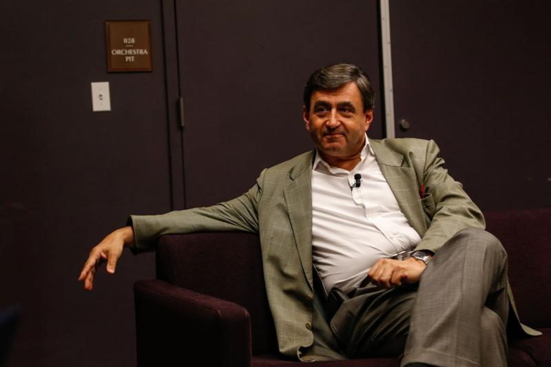 Eric Mazur of Harvard waits backstage at the Modern Theater in Boston.
