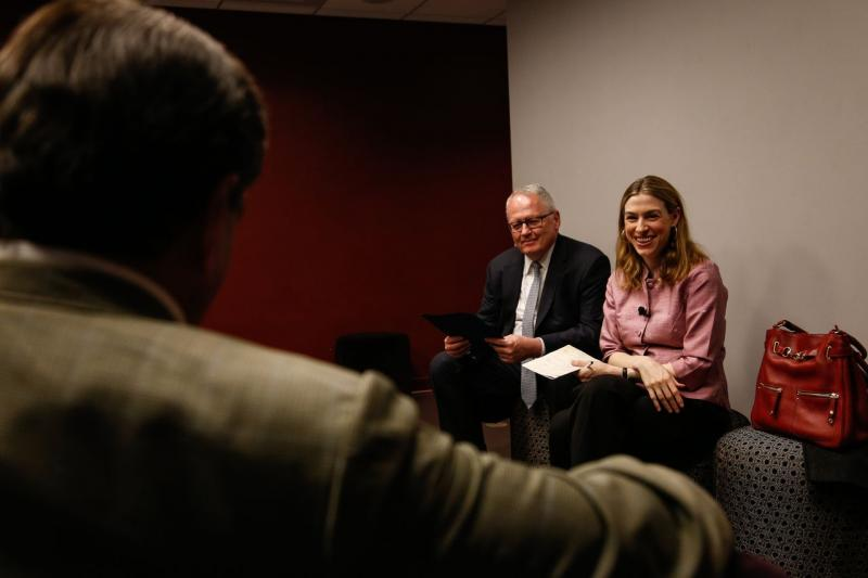James McCarthy of Suffolk University talks with Kara Miller of Innovation Hub backstage at the Modern Theater.