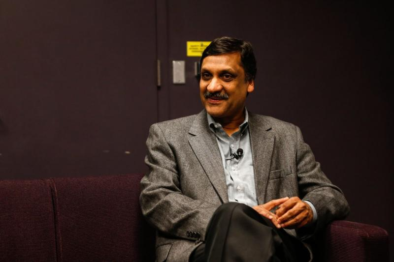 Anant Agarwal of edX waits backstage at the Modern Theater.