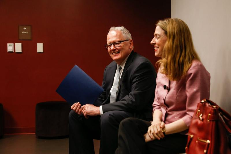 James McCarthy of Suffolk University chats with Kara Miller of Innovation Hub backstage at the Modern Theater in Boston.