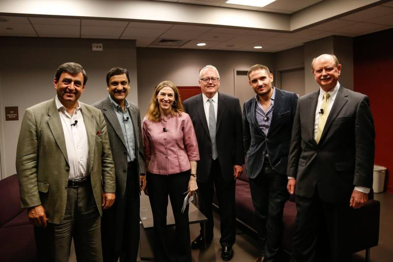 The whole gang backstage, from left: Eric Mazur of Harvard, Anant Agarwal of edX, Kara Miller of Innovation Hub, James McCarthy of Suffolk University, Peter Hopkins of Big Think, and Richard Miller of Olin College.