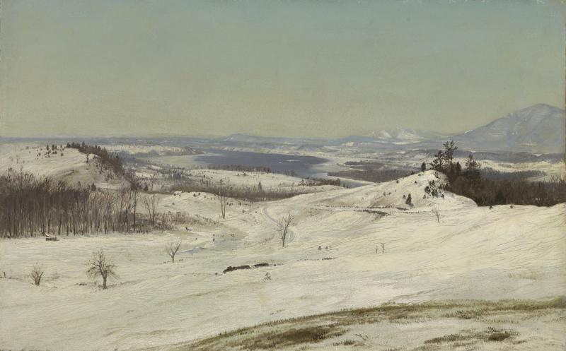 "Frederic Edwin Church, ""View from Olana in the Snow"" (c. 1871). Oil on paper (13 1/2 x 21 1/4 in.) The Lunder Collection."