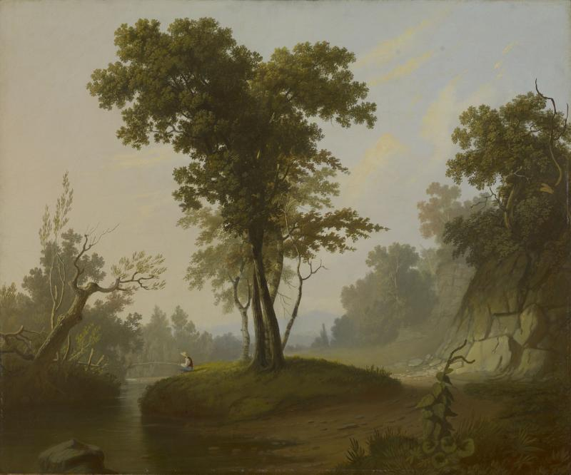 """George Caleb Bingham, """"Landscape with Fisherman"""" (c. 1845–50). Oil on canvas (25 x 30 in.) The Lunder Collection."""
