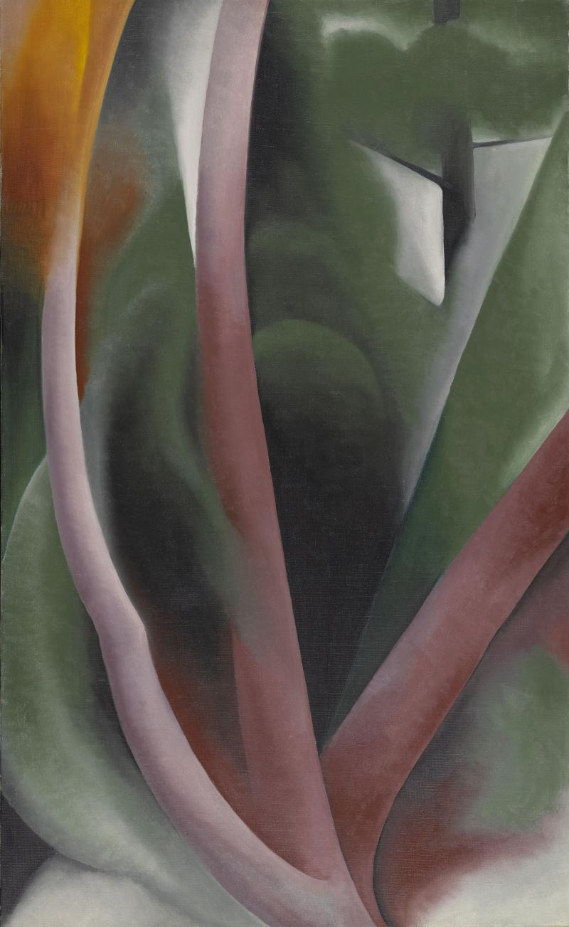 "Georgia O'Keeffe, ""Birch and Pine Trees—Pink"" (1925). Oil on canvas (36 x 22 in.) The Lunder Collection. © 2013 Georgia O'Keeffe Museum / Artists Rights  Society (ARS), New York."