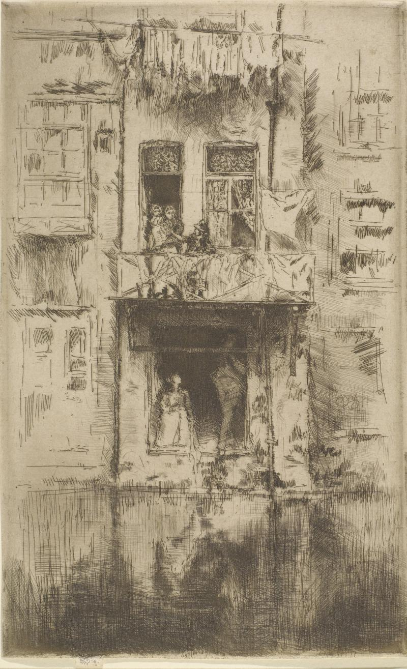 "James McNeill Whistler, ""Balcony, Amsterdam"" (1889). Etching and drypoint in dark brown on ivory laid paper, third state (of four), plate: (10 5/8 x 6 11/16  in.) sheet: (10 13/16 x 6 11/16 in.) The Lunder Collection."