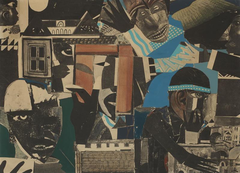 "Romare Bearden, ""City of Brass"" (1965). Photostat and gouache on board mounted on panel (29 x 40 in.) The Lunder Collection. Art © Romare Bearden  Foundation/Licensed by VAGA, New York, NY."