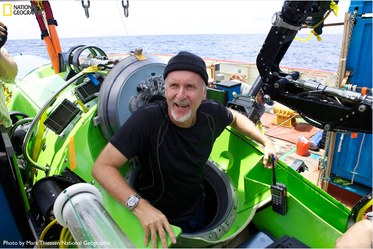 Director James Cameron inside the Deepsea Challenger, a research submarine that he donated to the Woods Hole Oceanographic Institution.