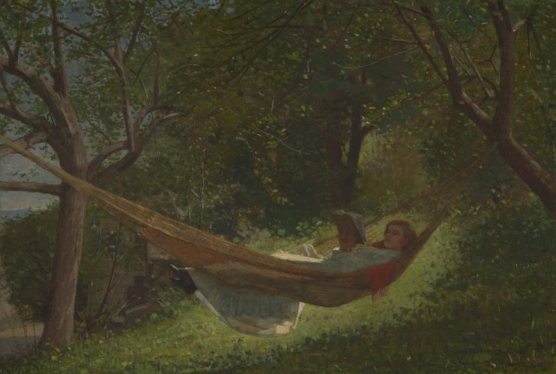 "Winslow Homer, ""Girl in a Hammock"" (1873). Oil on canvas (13 1/4 x 19 3/4 in.) The Lunder Collection."