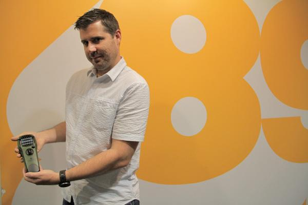 Ben Saren of Sure Shot Labs  holds the ThermaCELL Portable Mosquito Repellant device.