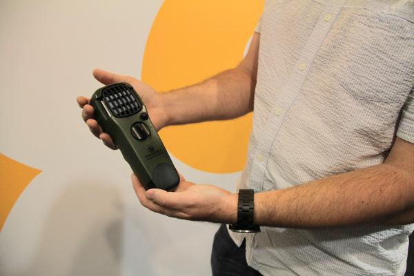 A close up of the ThermaCELL Portable Mosquito Repellant device.