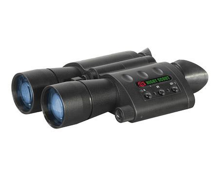 "A close up of the ATN ""Night Scout"" night vision binoculars."