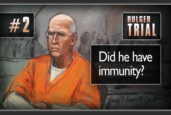Another key issue at trial: did bulger have immunity? As you'll recall, Judge Denise Casper would not let Bulger's attorney say that in court, and of course, it was a huge issue at trial whether Bulger had license to commit crime other than murder.