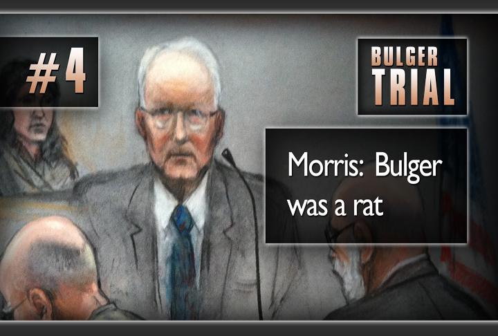 Next critical moment: disgraced former FBI agent John Morris, who testified that Bulger was a rat. The FBI produced thick files of comments, tips and interviews with Bulger, who claimed he paid off the FBI for information, not the other way around.