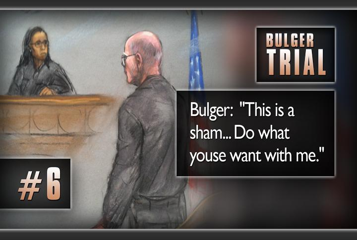 "And the final key moment: Bulger's decision to not testify at trial despite having said that he would. He told the judge in open court, ""This trial is a sham."" He went on to say,  ""Do what youse want with me."""