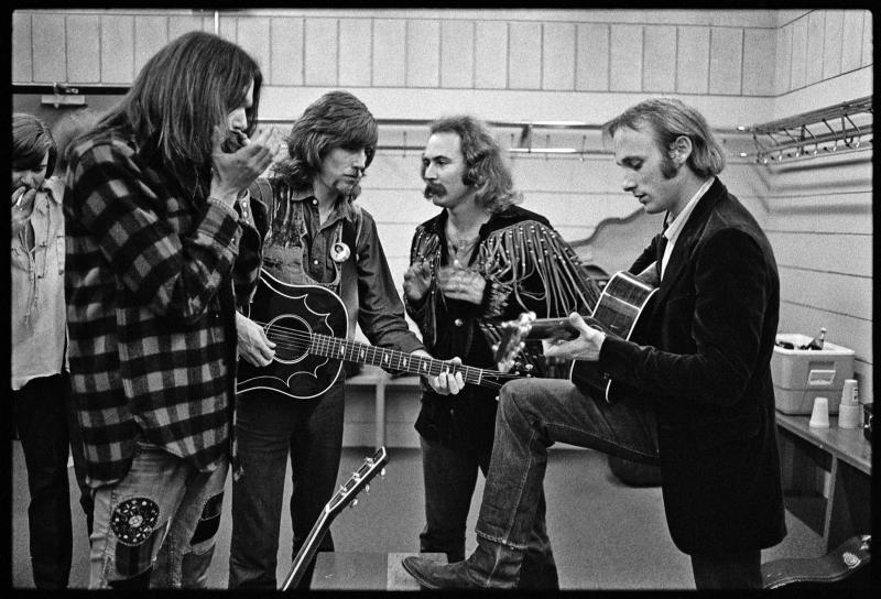 Crosby, Stills, Nash and Young in dressing room, Minnesota, 1970.