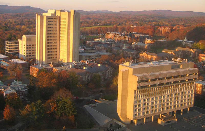 Lederle Graduate Research Tower, left, and Murray D. Lincoln Campus Center at UMass Amherst.