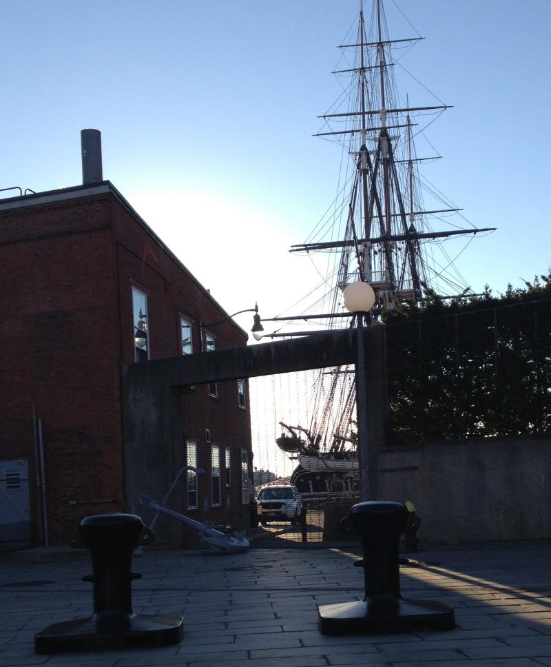 The USS Constitution docked in Charlestown, remained closed on Tuesday, Oct. 1.