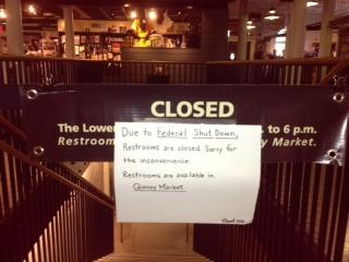 A sign on the door to Faneuil Hall in Boston.