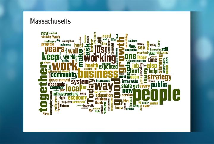 A word cloud for Gov. Deval Patrick's State of the Commonwealth speech.