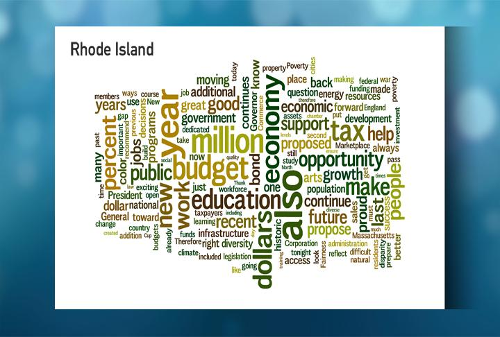 A word cloud for Rhode Island Gov. Lincoln Chafee's State of the State address.