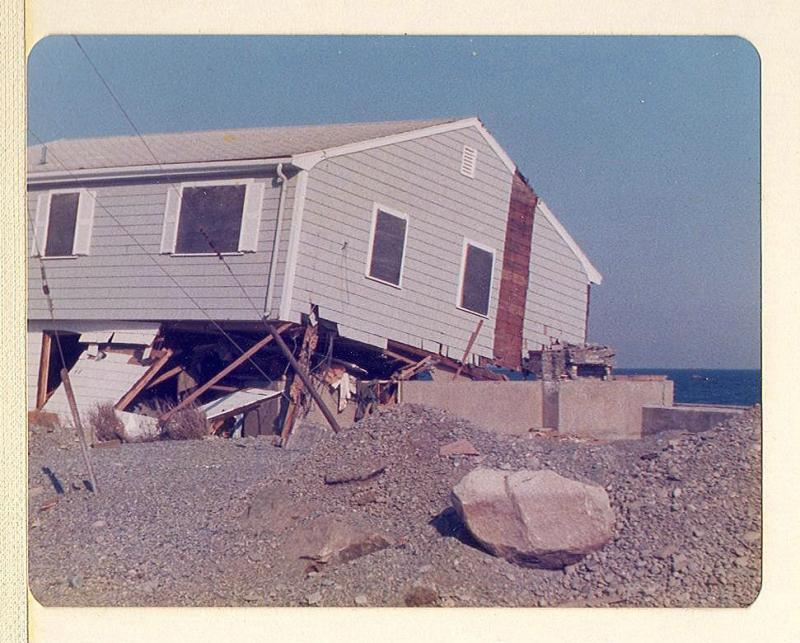 48 Oceanside Drive in Scituate following the Blizzard of 1978. The house has repeatedly suffered flood damage from coastal storms.