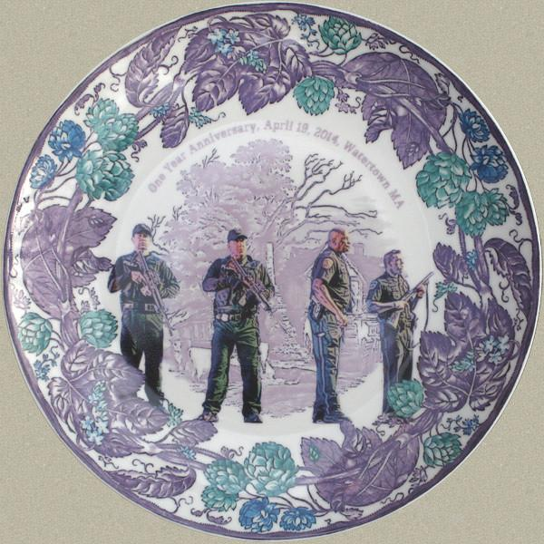 """The """"mauve"""" plate depicts four police officers guarding the entrance to Franklin Street, where the manhunt ended."""