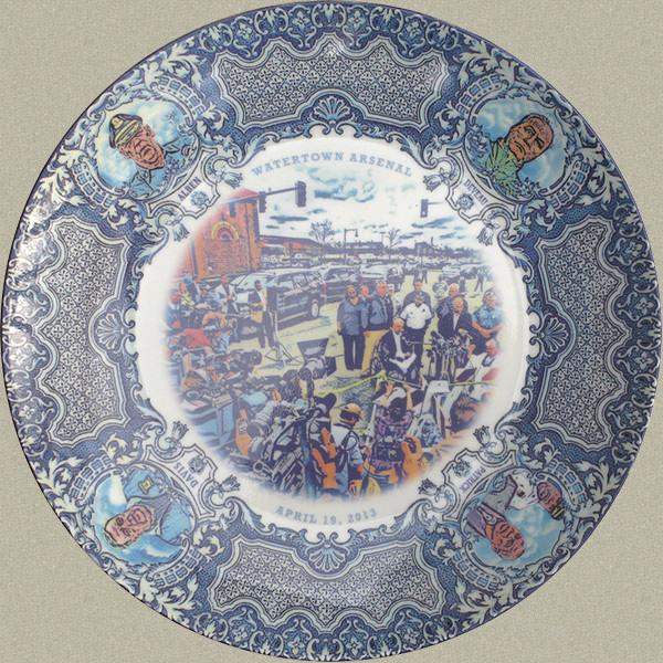 """The """"blue"""" plate features the press conference in front of the Watertown Arsenal Mall, with Mayor Menino and Gov. Patrick surrounded by the press."""