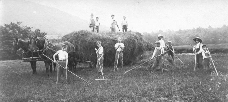 Many of the residents of the Swift River Valley were farmers. At the Hillside School in Greenwich, they didn't just teach reading, writing and 'rithmetic; they also taught life skills. Here, a group of students are honing their agricultural aptitude.