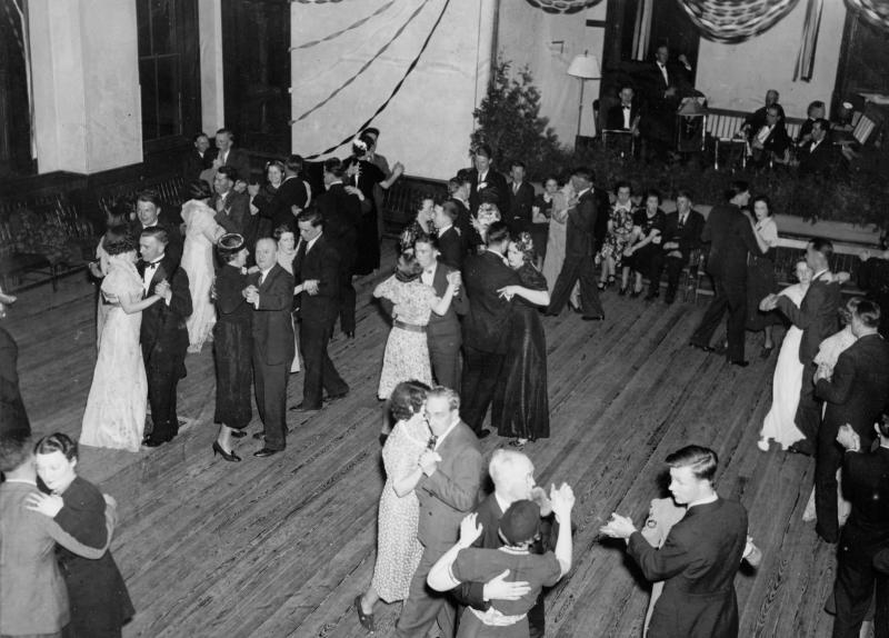 The towns were officially disincorperated on April 28, 1938. The night before, former and current residents gathered at Enfield Town Hall for the Farewell Ball. Here, residents enjoy on