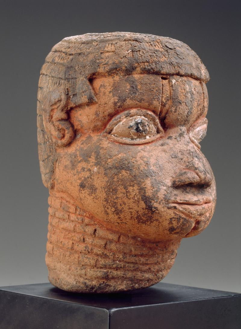 Head; artist unidentified, African; Edo peoples; Benin kingdom, Nigeria; about 1750; terracotta, traces of pigment