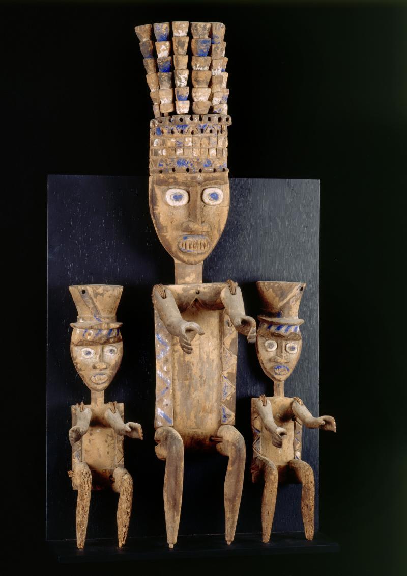 Memorial screen (duen fubara); African; late 19th century; Ijaw Kalabari peoples; wood, pigments, fiber