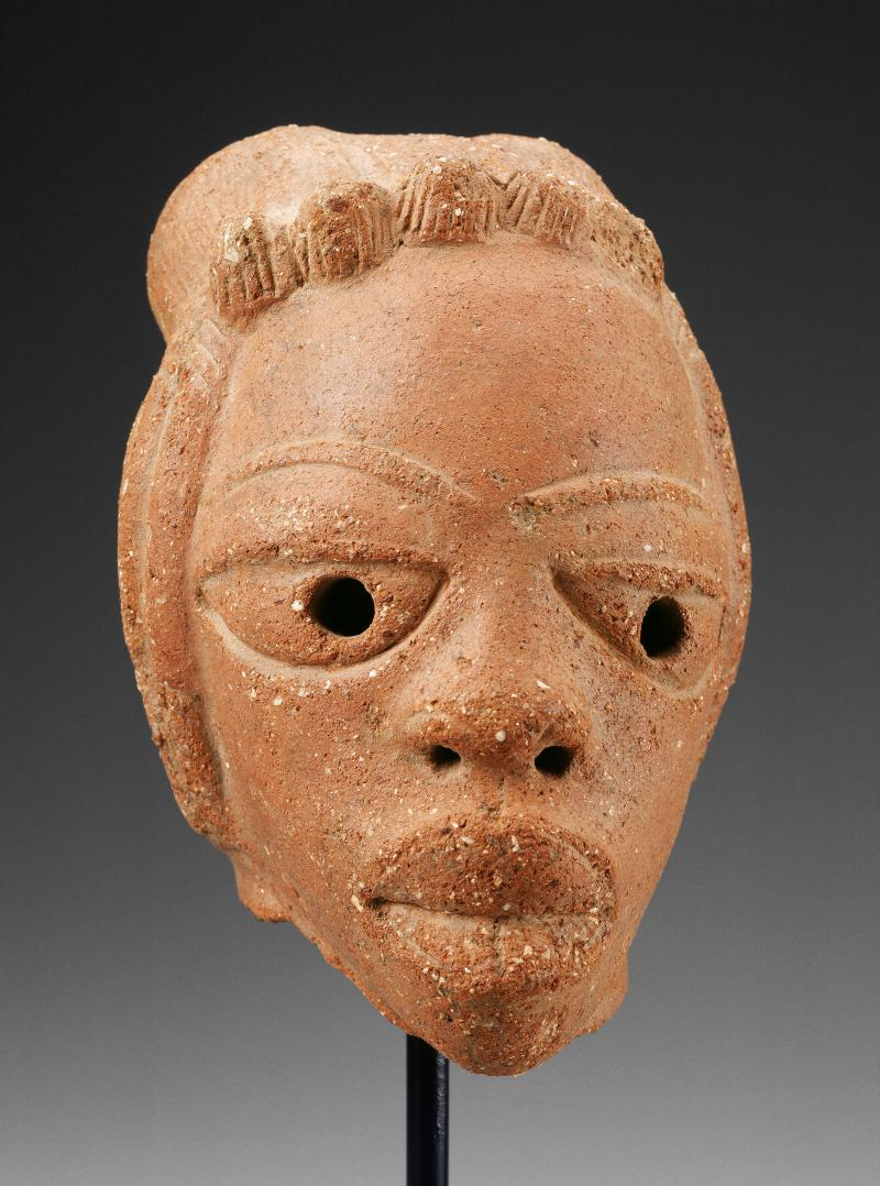 Head; about 500 BC-200 AD; Nok peoples; African; ceramic, terracotta