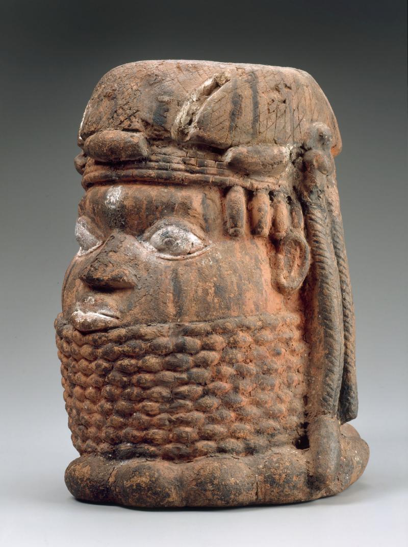 Head of an Oba; Edo peoples; Benin Kingdom, Nigeria; 19th century; terracotta