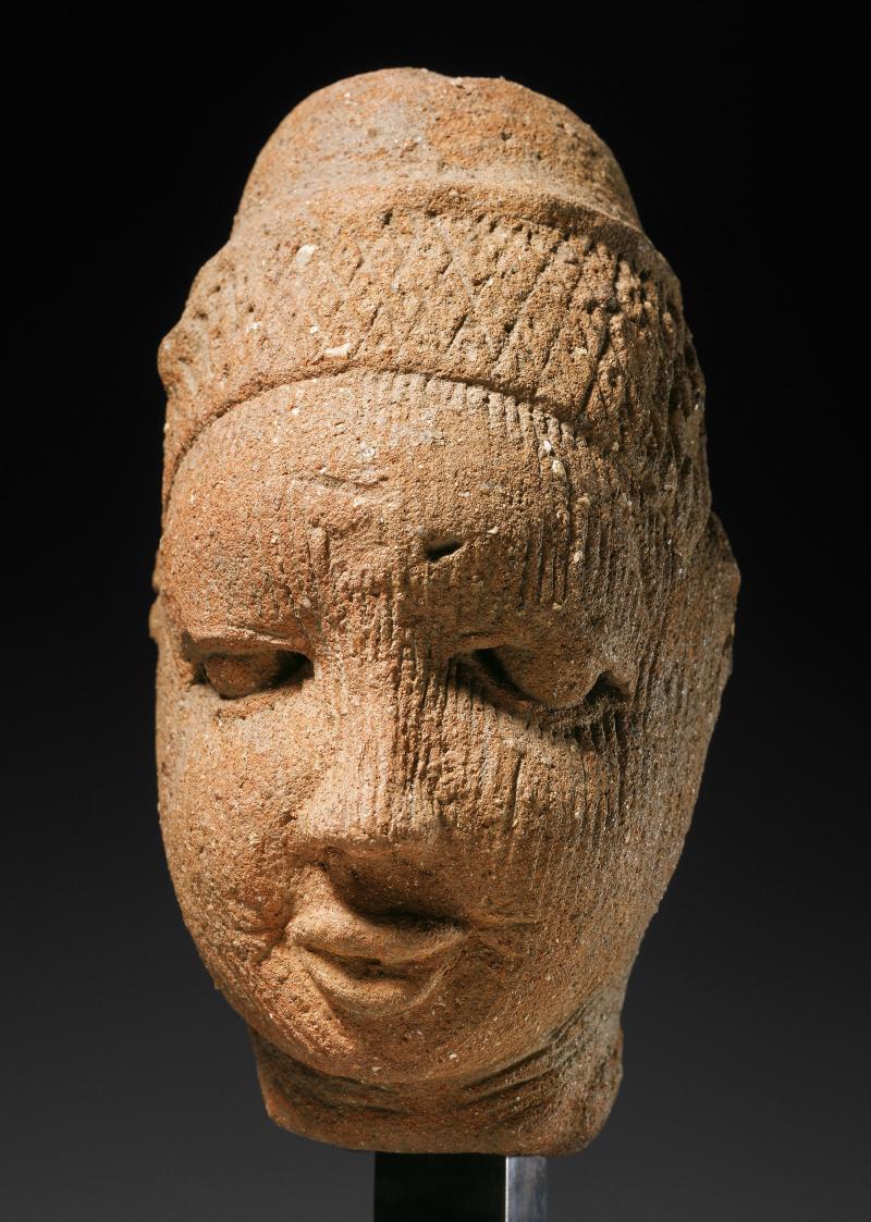 Portrait head; African; Yoruba people; Ife Kingdom, Nigeria; 12th-14th century, Yoruba peoples