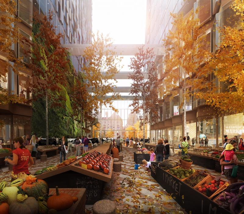 What the atrium would look like in the fall, according to a rendering from the developer.