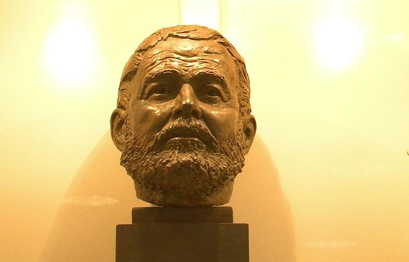 A bust of Ernest Hemingway at the JFK Library.