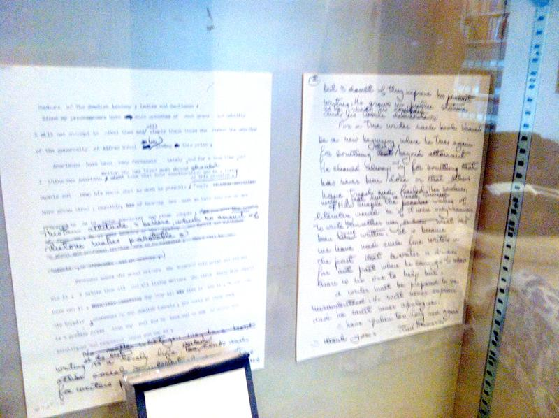 Hemingway's handwitten notes on a manuscript.