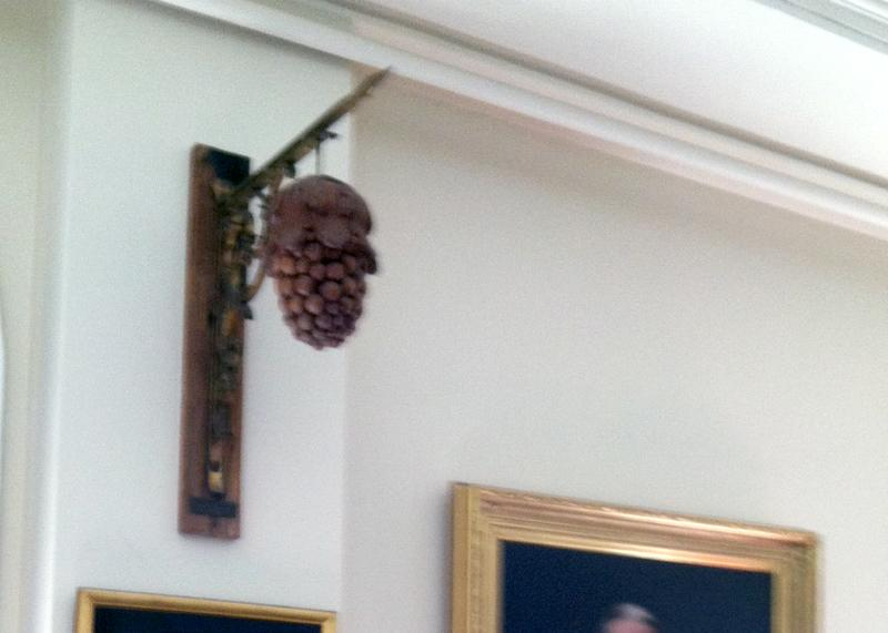 """A replica of the sign that was affixed outside the """"Bunch of Grapes,"""" the colonial era tavern where the Grand Lodge of Massachusetts was formed in 1733"""