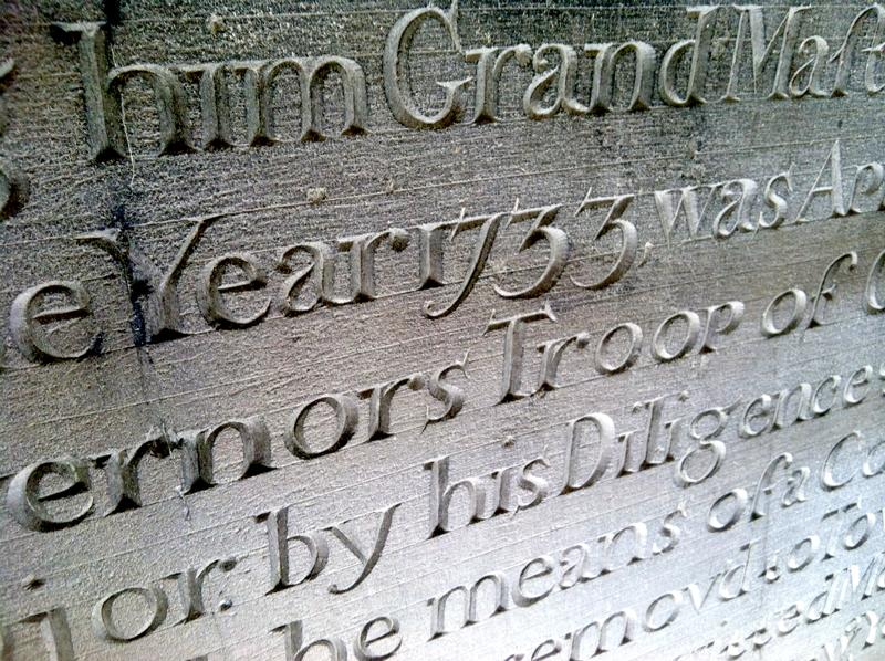 Detail of Price's memorial stone that marks the 1733 formation of the Massachusetts Grand Lodge