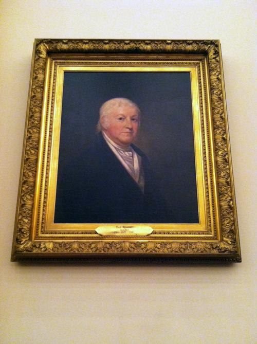 A portrait of former Grand Master Paul Revere in Corinthian Hall.