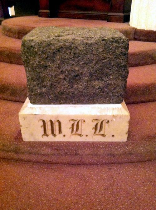 The rough ashler, a Freemason symbol that hearkens back to their stonemason roots